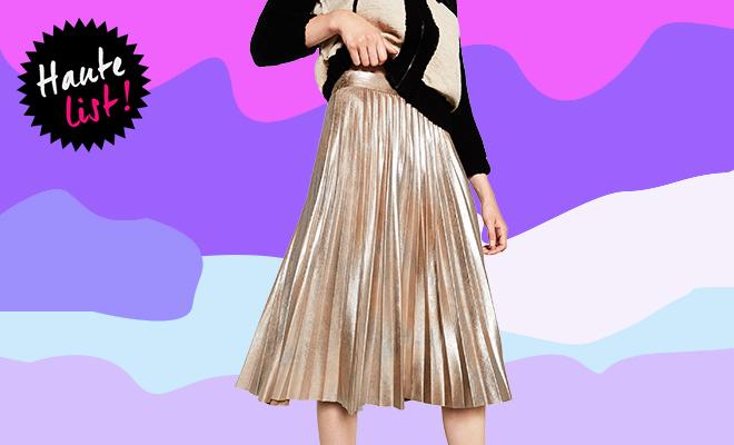 zara-pleated-metallic-skirt_hauterfly