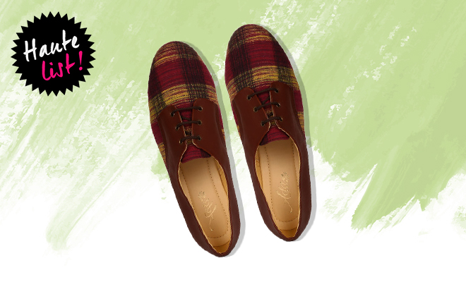 Ajio Handwoven Checked Linen Oxford Shoes_Featured1_Hauterfly