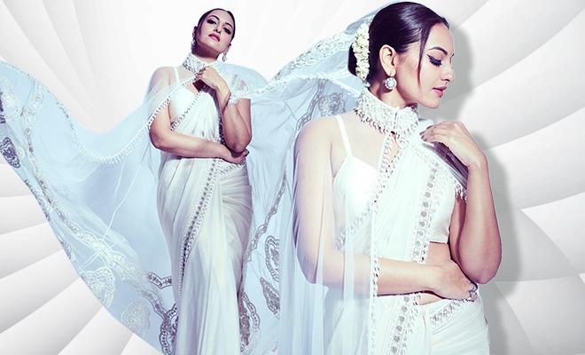 Hauterfly Sonakshi Sinha White Saree