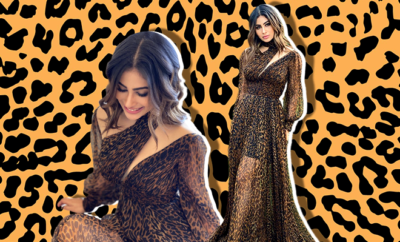 Hauterfly Mouni Roy Animal Print Dress