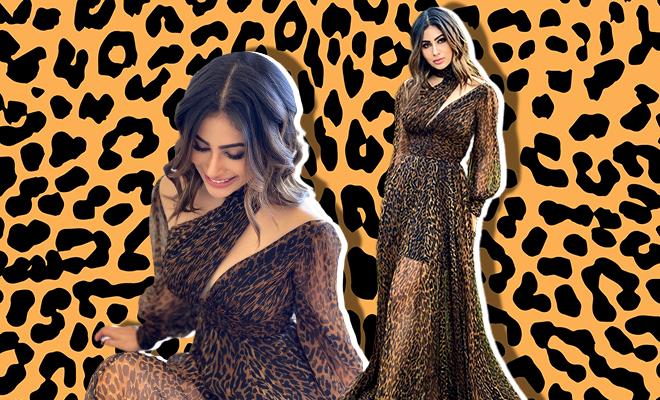Hauterfly Mouni Roy Animal Print Dress
