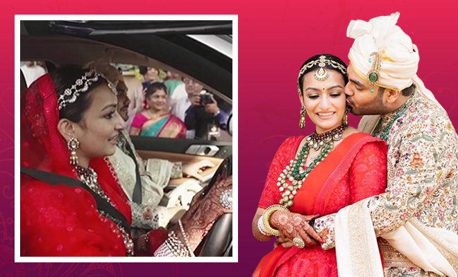 Bride drives out of bidaai