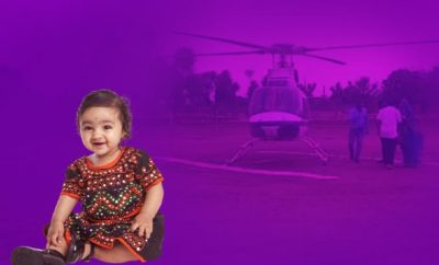 Family's-first-girl-child-in-35-years-brought-home-by-helicopter-in-Rajasthan