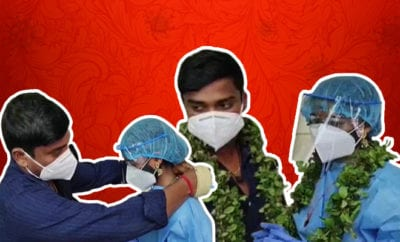FI-Kerala-Woman-Dons-PPE-Kit,-Ties-Knot-at-Hospital-as-Bridegroom-Tests-Covid-positive