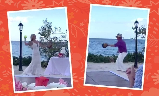 Bride-swaps-father-daughter-first-dance-with-a-game-of-catch-at-wedding