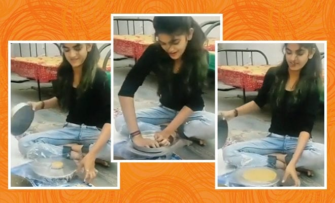 Girl-Shows-How-to-Roll-a-Round-Roti-Without-Belan