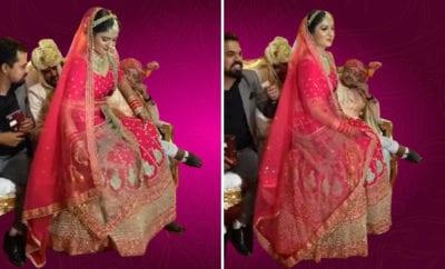 Bindass-bride-ka-swag!-Bride-sits-in-the-groom's-lap-on-stage