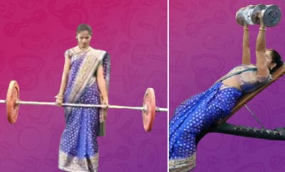 Pune-woman-effortlessly-works-out-wearing-a-saree