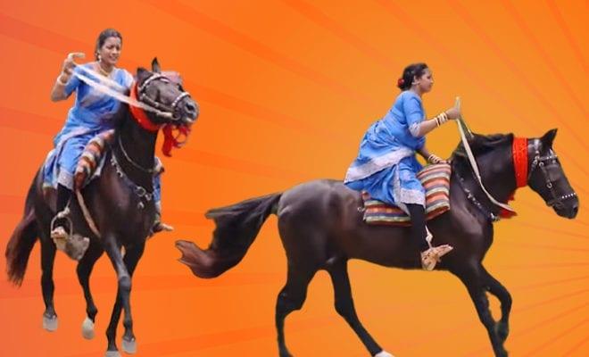 Video-of-a-Saree-clad-Woman-Riding-Horse