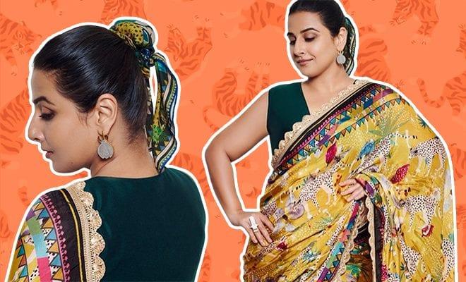 Vidya-Balan-feels-'knotty'-in-₹13k-Sherni-like-saree,-scarf-inspired-by-nature