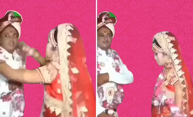 Bride-&-Groom-Angrily-Throw-Garlands-at-Each-Other-During-Wedding-Ceremony