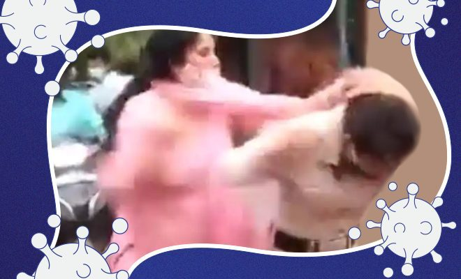 Woman mask Video-shows-woman-slapping,-pulling-hair-of-officials-issuing-COVID-challans-in-Delhi (1)