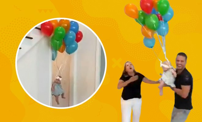 Video Woman's-reaction-on-seeing-'flying-baby'-with-balloons-will-amuse-you