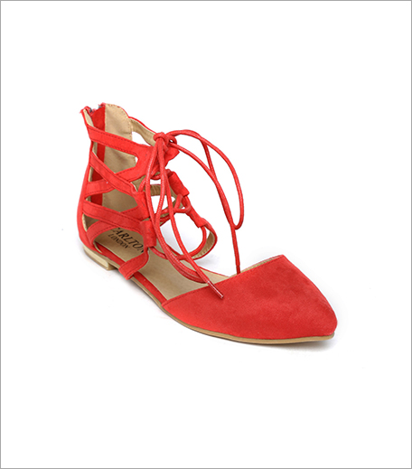 Carlton London Women Coral Red Tie-Up Flats (Rs 998)