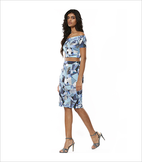 PANKAJ & NIDHI FOR KOOVS Broken Glass Print Pencil Skirt_Hauterfly