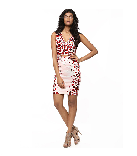 PANKAJ & NIDHI FOR KOOVS Gem Border Print Cut Out Midi Dress_Hauterfly