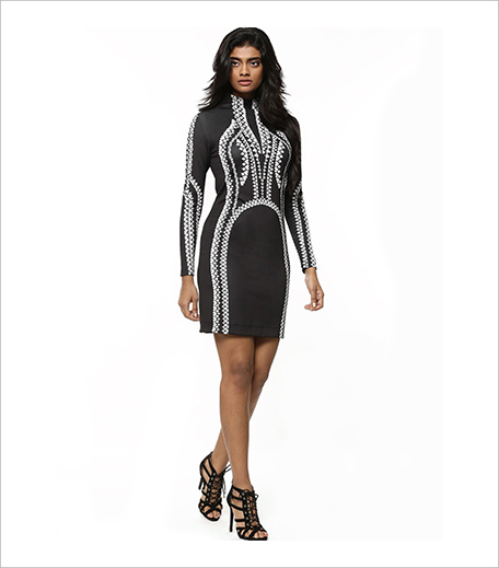 PANKAJ & NIDHI FOR KOOVS House Of Cards Print Bodycon Midi Dress_Hauterfly