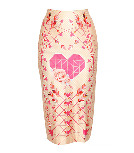 PAPA DONT PREACH Peach heart and rose printed pencil skirt_Hauterfly