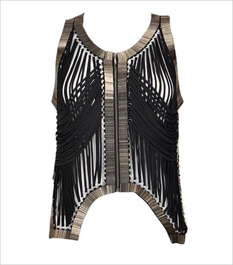 Rohit Gandhi Rahul Khanna Black fringe zipper vest_Hauterfly