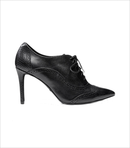 Black Leather Lace-Up Shoe Boots_Hauterfly