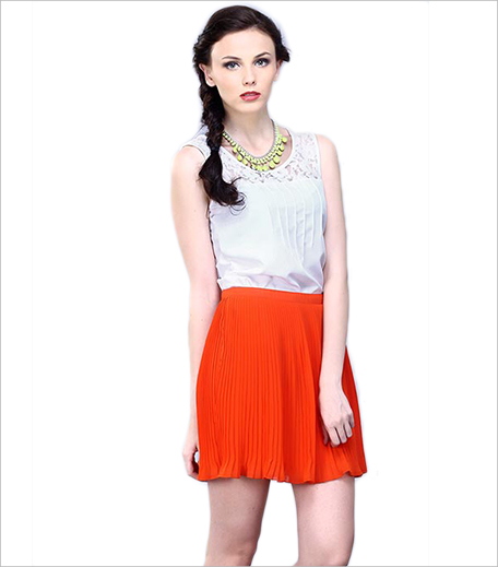 Faballey FULL SWING PLEATED SKIRT - TANGERINE_Hauterfly