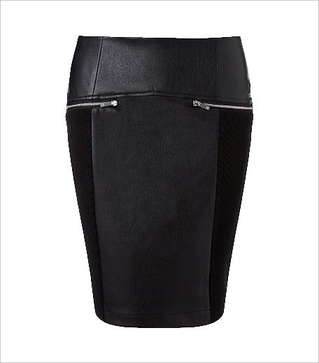 Morgan Faux Leather Jersey Panelled Mini Skirt_Hauterfly