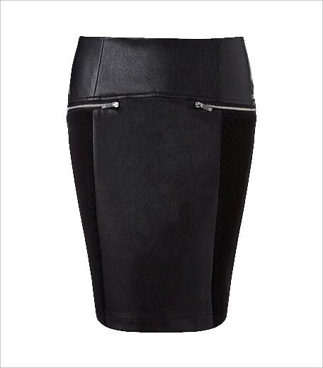 Morgan Faux Leather Jersey Panelled Mini Skirt_Hauterfly