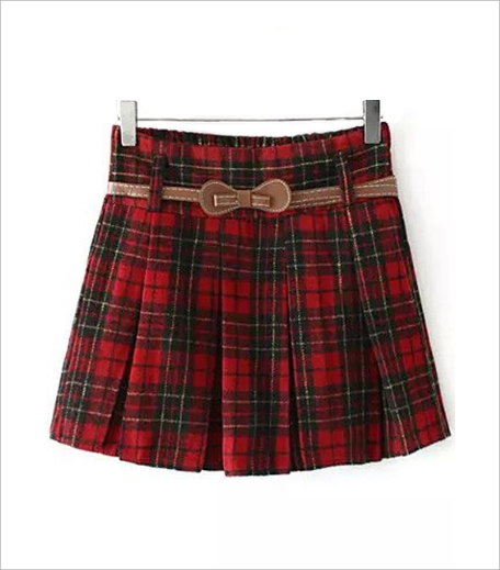 SR Store Plaid Belt Pleated Red Skirt_Hauterfly
