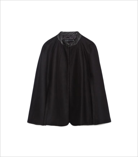 Zara SHORT CAPE WITH FAUX LEATHER DETAIL_Hauterfly