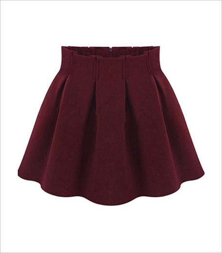 Zoomberg Red High Waist Pleated Flare Skirt_Hauterfly