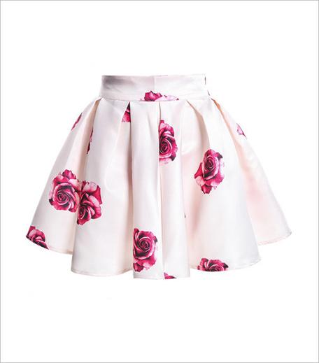 Zoomberg Rose Print Flare White Skirt_Hauterfly
