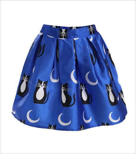 Zooomberg Blue Cats Print Flare Skirt_Hauterfly