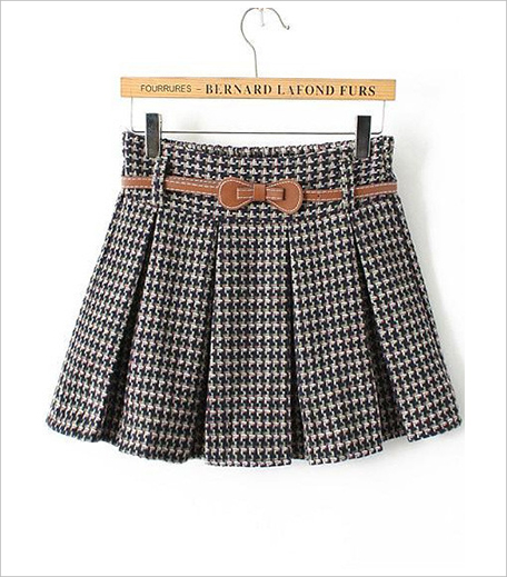 Zooomberg Houndstooth Belt Pleated Skirt_Hauterfly