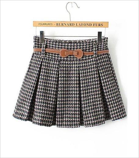 Zooomberg Houndstooth Belt Pleated Skirt_Hauterfly