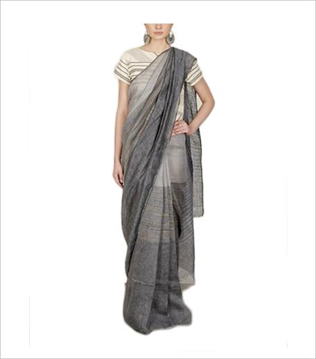 Anavila Grey & Indigo Stripe Sari_Hauterfly
