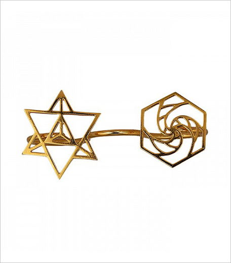 Eina Ahluwalia Sacred Geometry 3 Finger Ring ll_Hauterfly