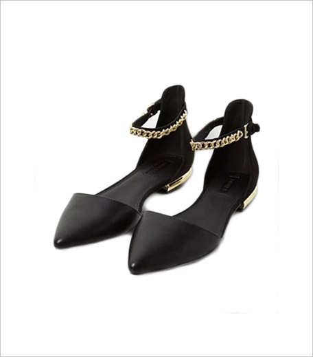 Forever 21 Faux Leather Chain Ankle-Strap Flats_Hauterfly