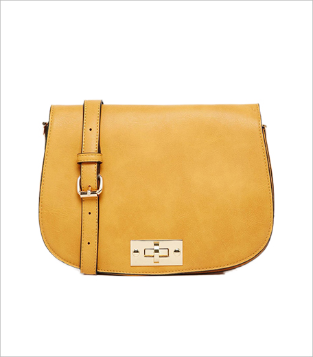 Glamorous Saddle Bag with Twist Lock Detail in Mustard 1_Hauterfly