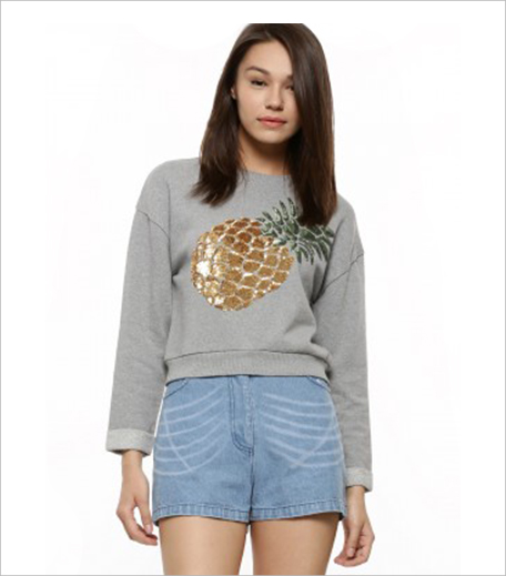 KOOVS Pineapple Applique Sweatshirt_Hauterfly