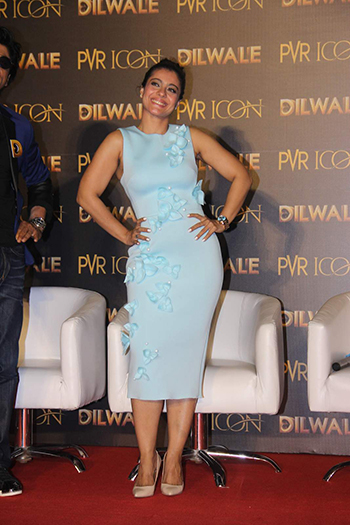 At the Dilwale song launch, Kajol was seen wearing a Gauri & Nainika dress with Steve Madden pumps.