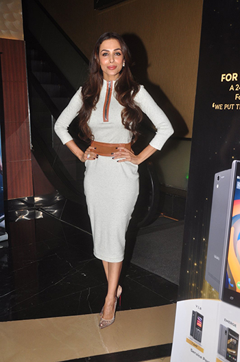 At Viaan Mobile Launch, Malaika Arora Khan was seen in a DRVV dress that she teamed with Maheep Kapoor earrings, a Mahesh Notandas ring and Louboutins.