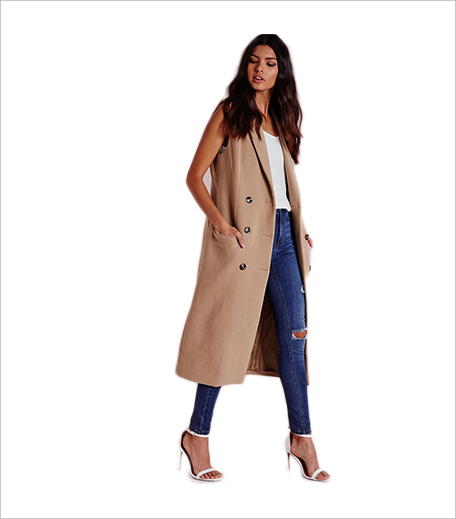 Misguided double breasted sleeveless wool maxi coat camel_Hauterfly