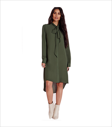 Misguided pussybow long sleeve shirt dress khaki_Shirt Dress Hauterfly