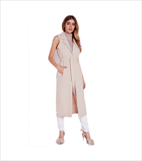 Misguided sleeveless belted longline duster coat nude_Hauterfly