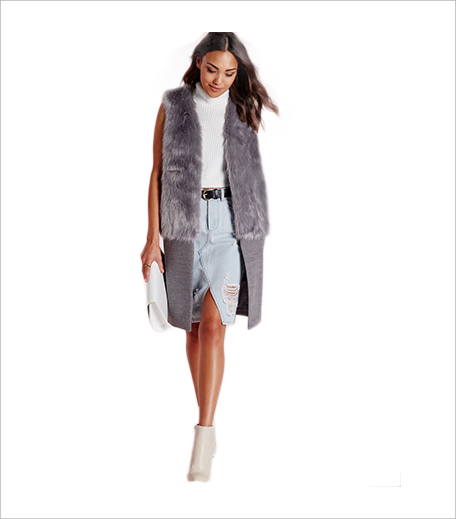 Misguided sleeveless wool coat with faux fur grey_Hauterfly