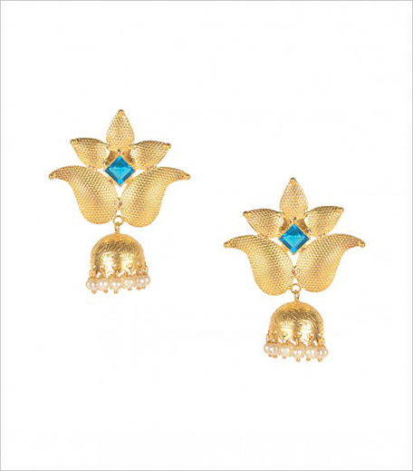 NAZRANAY Golden Paisley Top Jhumka Earrings_Hauterfly
