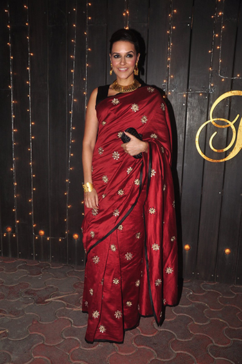 Neha Dhupia at the Shilpa Shetty Diwali bash.