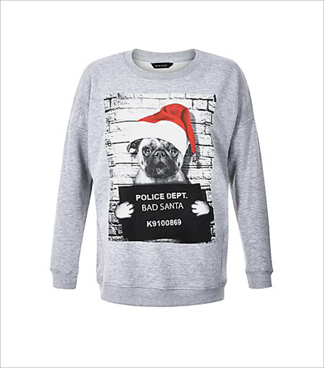 New Look Grey Pug Bad Santa Print Christmas Sweater_Hauterfly