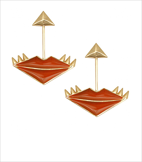Outhouse Gold plated orange enamel lip shaped earrings PPOS_Hauterfly