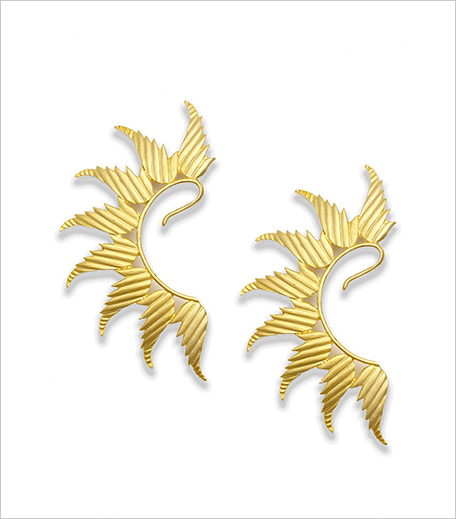 Ra Abta Gold plated textured leaf earcuff_Hauterfly